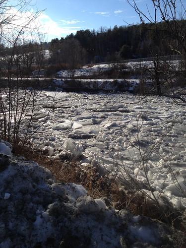 winter ice water river frozen icejam