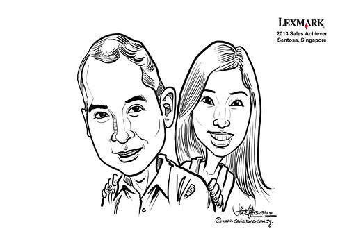 digital couple caricatures for Lexmark - Rachel Lew