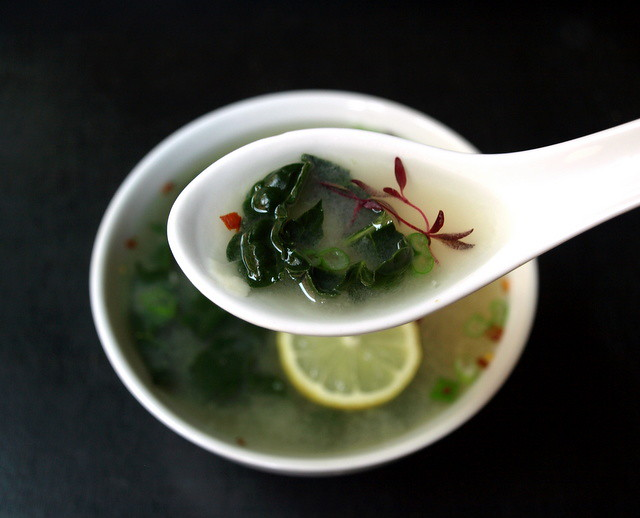 Roasted Garlic, Miso & Greens Soup