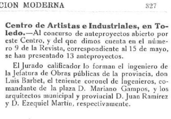 """Noticia del concurso de reforma y ampliación del Centro de Artistas e Industriales de Toledo en """" La construcción moderna"""" 15 noviembre de 1922"""