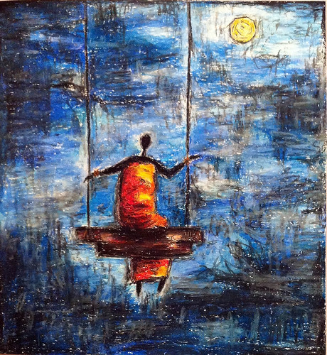 the lady on the swing chair with oil pastels by Neeti