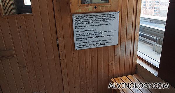 Sauna room on the upper floor of the SkyBar