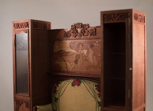 Art nouveau sofa and cabinets