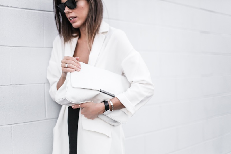 modern legacy blog street style off duty ASOS Duster Coat Common Projects slide sandals Topshop Boutique midi silk cami dress Zara leather clutch monochrome black white blogger balayage hair tuck oversized minimalist (3 of 8)