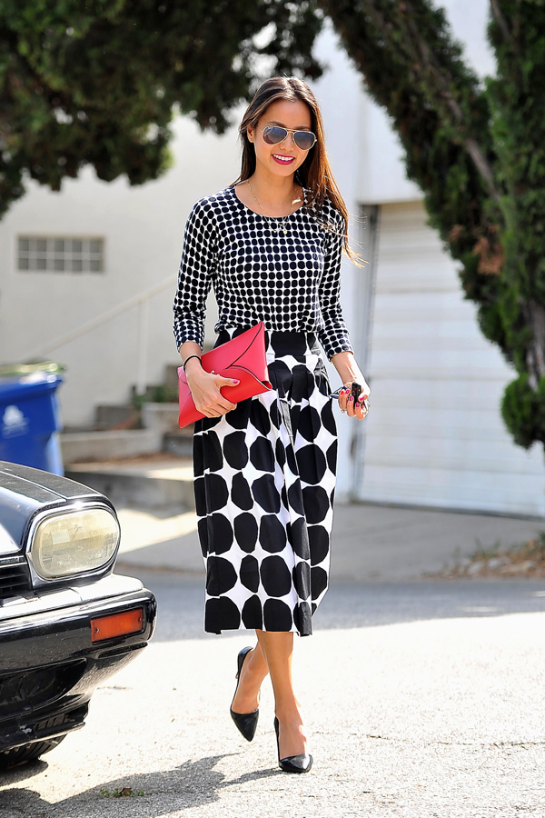Large-polka-dots-with-small-polka-dots, Large dots skirt, large black & white polka dot midi length skirt, polka dot trend, polka dot skirt, polka dot top. Polka dot blouse, red clutch bag, red envelope style leather clutch, Jamie Chung style, midi length skirt, monochrome polka dot skirt