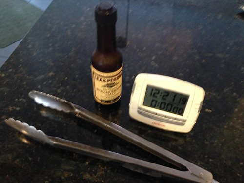 IMG_2644 Grilling tools, long tongs, Lea & Perrins Worchestershire Sauce and a timer