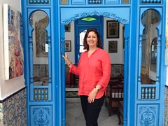 At Sidi Bou Said wearing my Eileen Fisher linen top