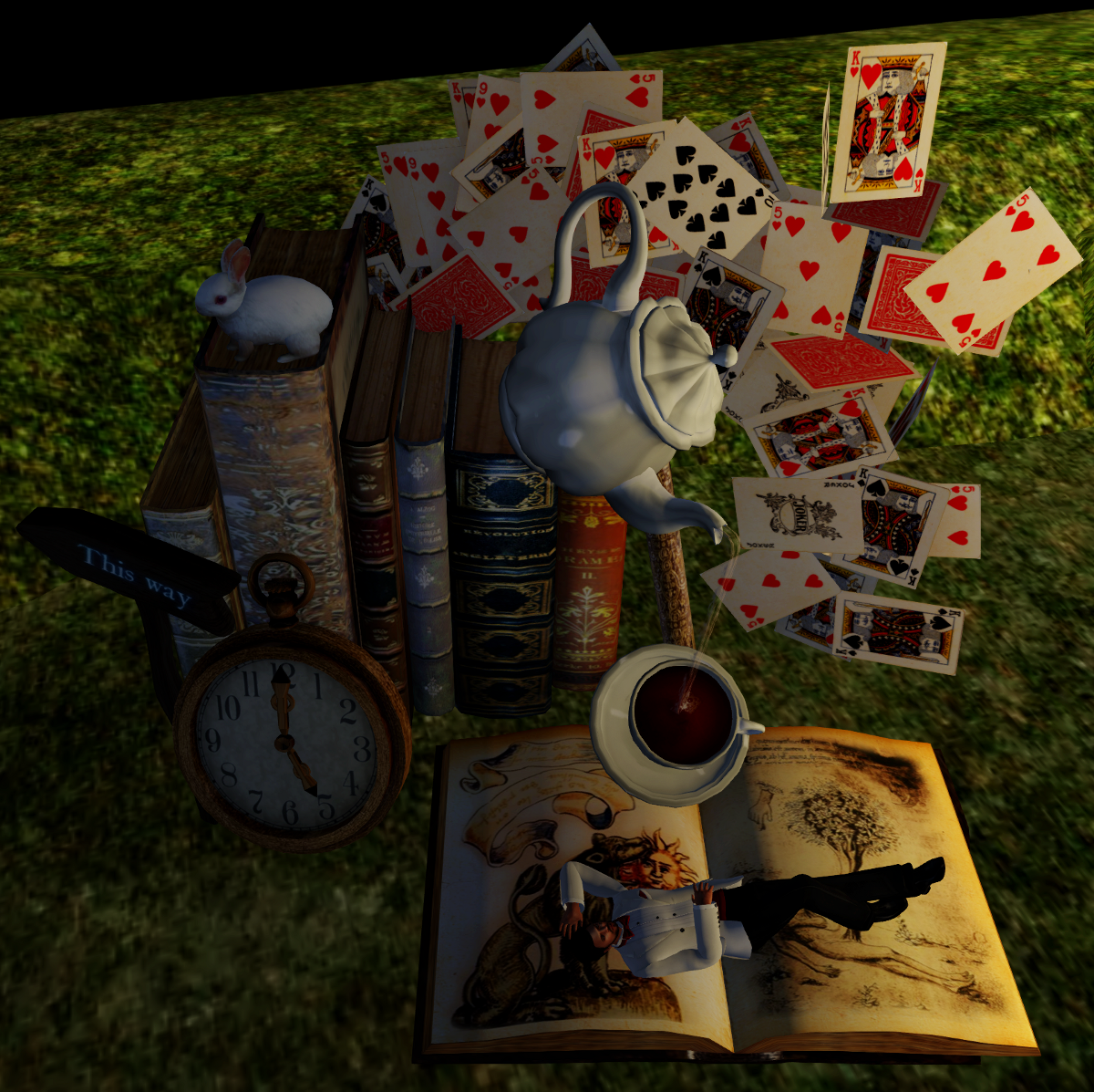 Enchanted Alice: books, tea, playing cards, pocket watches, white rabbits...