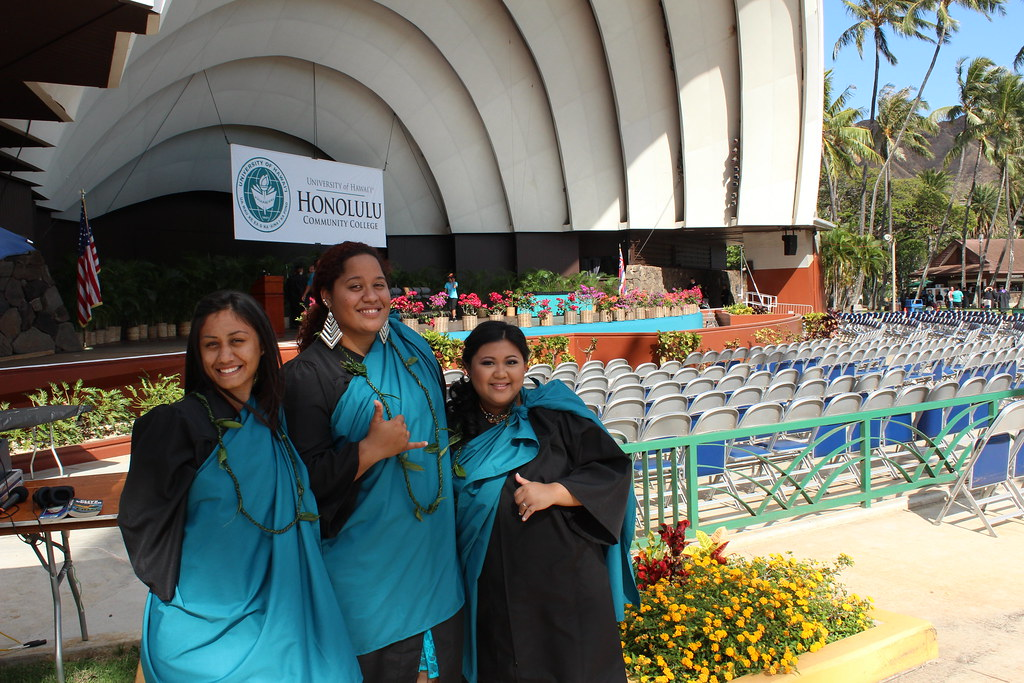 """<p>Honolulu Community College students celebrated at the campus' commencement ceremony at the Waikiki Shell on May 16, 2014. For more photo go to <a href=""""https://www.flickr.com/photos/honolulucc/sets/72157644697235366/"""">www.flickr.com/photos/honolulucc/sets/72157644697235366/</a></p>"""