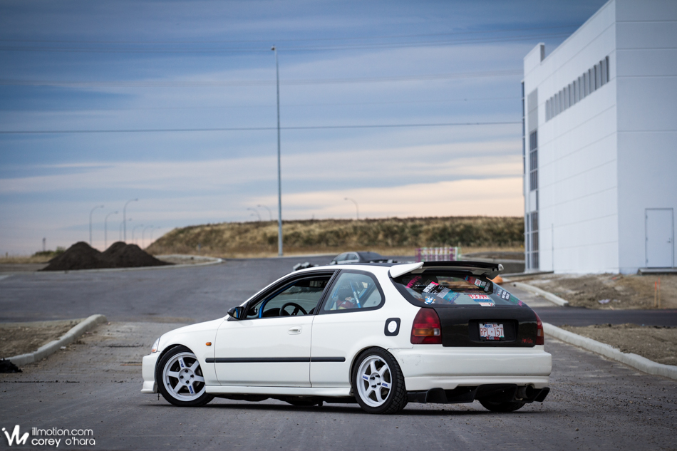 Illmotion im feature arifs honda civic hatch championship white ek sitting on volks forever classic te 37 wheel a seeker v2 rear spoiler a civic type r radiator grille vis cf hood and hatch publicscrutiny Images