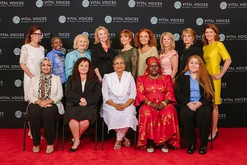 Front row from left to right: Suaad Allami, Iraq; Claudia Paz y Paz, Guatemala; Priti Patkar, India; Dr. Victoria Kisyombe, Tanzania; and Rana Zaitouneh, Syria. Back row from left to right: Laura Alonso, Kah Walla, Melanne Verveer, Alyse Nelson, Susan Ann