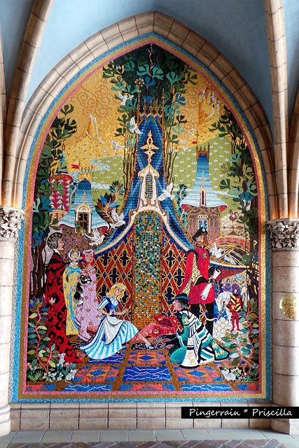 Cinderella fitting into the glass slipper - Mosaic Tile Artwork on the Castle Walls