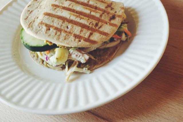 52 sandwiches no. 38: mediterranean chicken flatbread