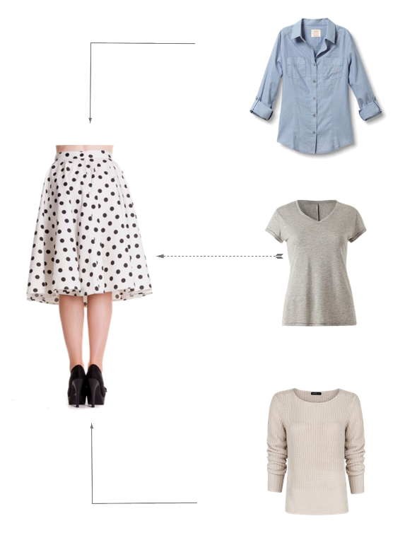 neutrals, polka dots, chambray, sweater, t-shirt, mix and match, outfit, clothing, wardrobe,