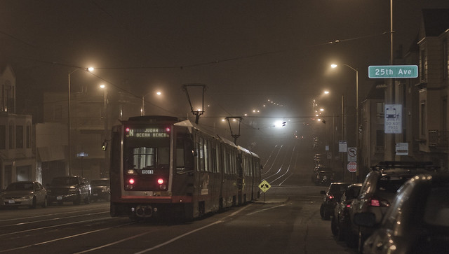 N Judah MUNI train in The Sunset, night.  San Francisco (2014)