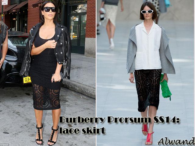 Burberry-Prorsum-SS14-lace-skirt, Burberry Prorsum lace skirt, lace skirt, Alaia Embellished Suede Sandals as seen on Kim Kardashian, cropped biker jacket, Céline black sunglasses, Burberry Prorsum SS14 lace skirt