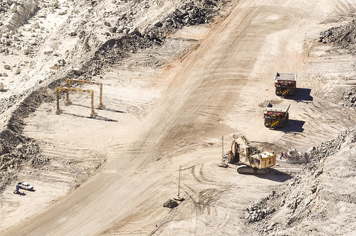 Haul trucks at the Rio Tinto Rössing uranium mine, Namibia