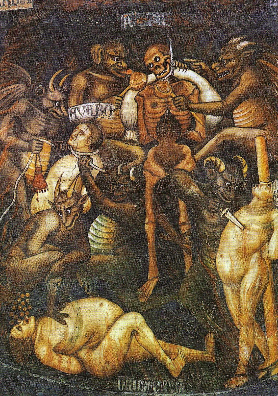 Taddeo di Bartolo - The Last Judgment  (detail of greed) c.1394
