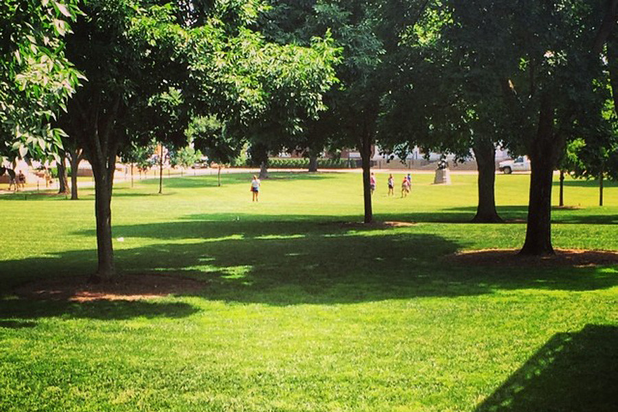 July 2, 2014 - A small tour group on a hot summer day on the Lawn.
