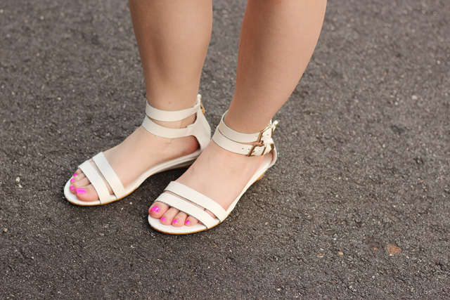 White Ankle Strap Sandals from Boohoo