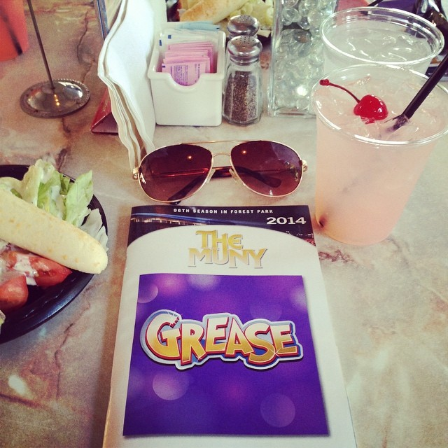 Enjoying a nice buffet dinner before The Muny presentation of Grease! This Pink Lady drink is pretty-licious! I look forward to seeing a musical here every summer! Glad the temps are low tonight, 2 summers ago we watched our butter melt on the table... It