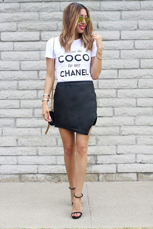 lucky magazine contributor,fashion blogger,lovefashionlivelife,joann doan,style blogger,stylist,what i wore,my style,fashion diaries,outfit,coco chanel,white tee,summer style,summer trends,leather skirt,ysl,saint laurent,zero uv,hm,style lately