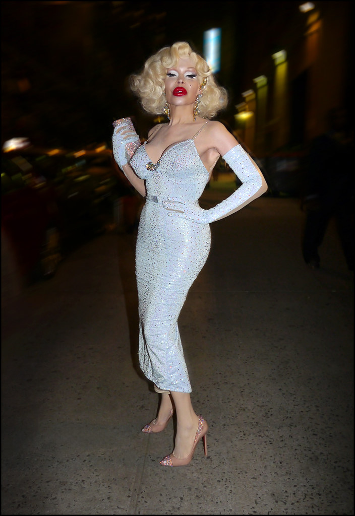 32 w Amanda Lepore pale blue sequin spaghetti strap gown full arm gloves ol2
