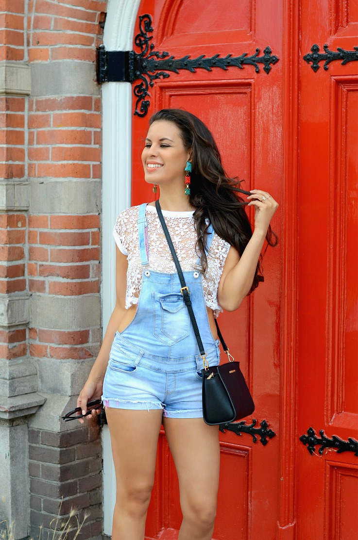 DSC_0484 Denim overalls, Michael Kors Selma bag, Supertrash Earrings