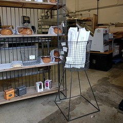 #bread #bakery #wirebasket stand & #shelves ... #machinery #wire #basket #freshbakedbread #cafe #restaurant #woodinville #shelfie #baguette