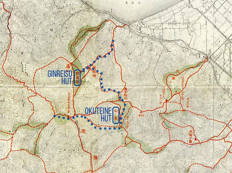 Sapporo ski touring routes (1930's historical map, northern end), Hokkaido, Japan