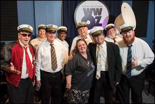 WWOZ's Leslie Cooper with Storyville Stompers at the WWOZ Studio on day 1 of the Spring Pledge Drive. Photo by Ryan Hodgson-Rigsbee www.rhrphoto.com