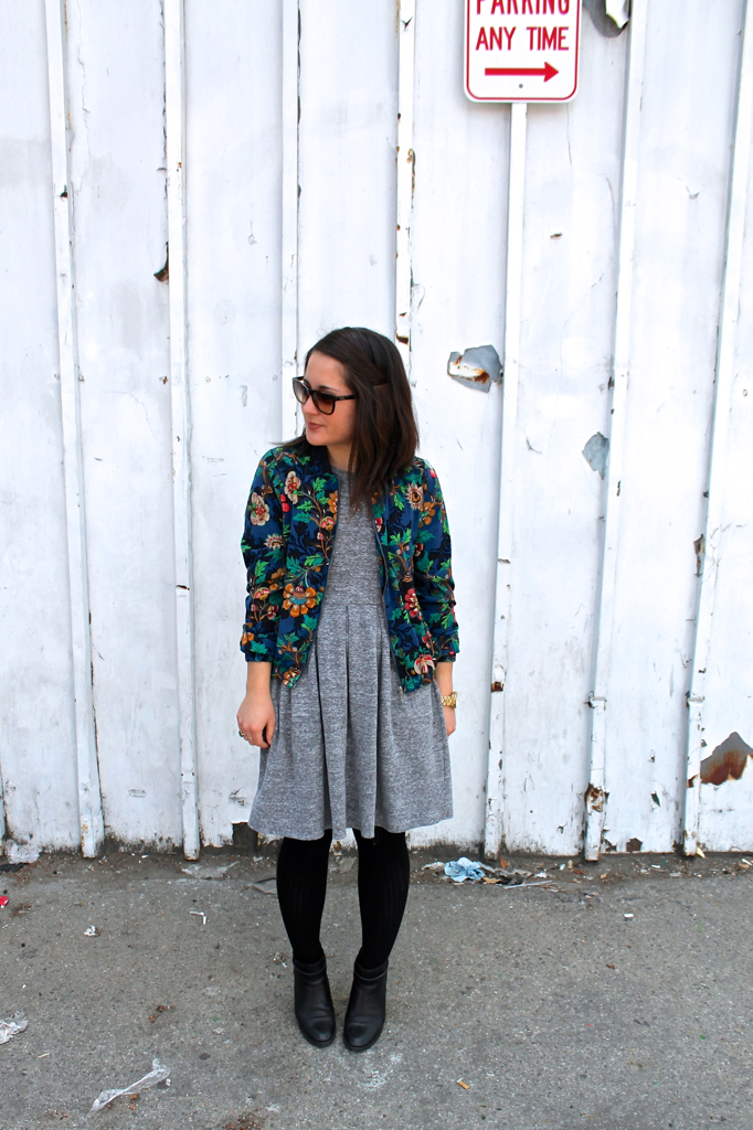 floral bomber jacket and grey sweatshirt dress