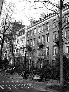 B&W Typical residential street in Amsterdam