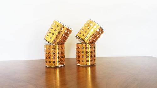 Vintage Culver Canella Pattern Gold Encrusted Cane BasketWeave Lowball Rocks Glasses Set Mint Condition