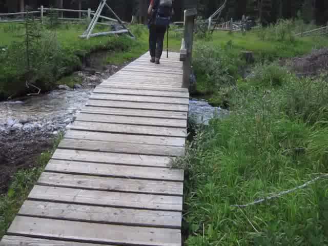 0096 Video of crossing a wooden bridge over Forty Mile Creek