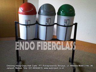 Tong Sampah Fiber Indoor 40 Liter 3in1