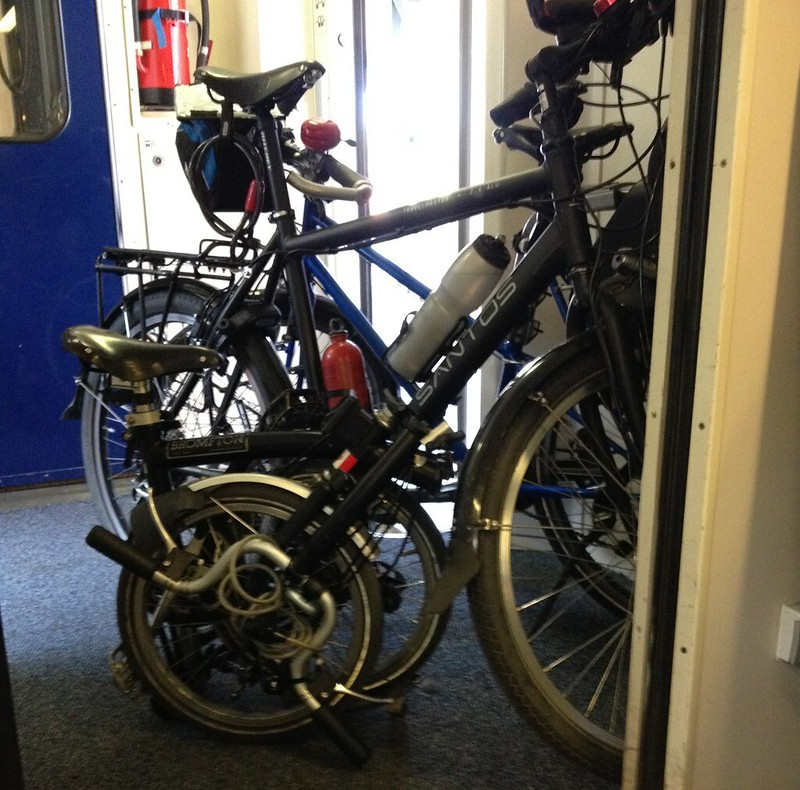 Brompton vs big bikes in the train
