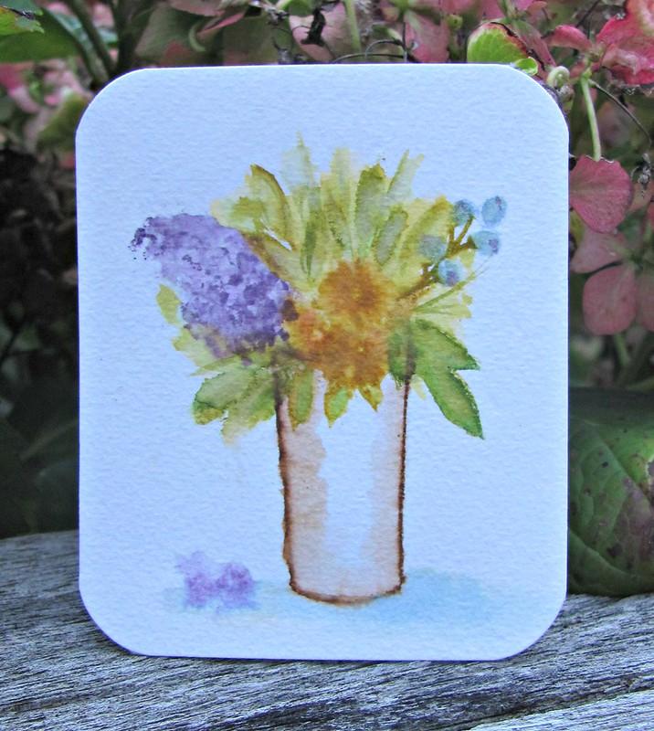 Faux watercolour flowers.