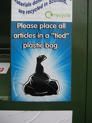 "Please place all articles in a ""tied"" plastic bag"