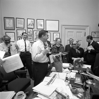 Press Secretary Pierre Salinger Receives a Retired Walker's Survival Kit from His Colleagues