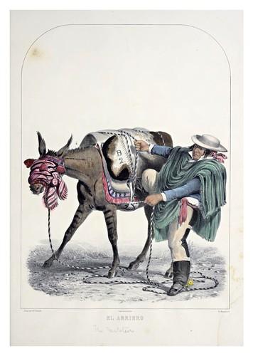 007- El arriero-Recuerdos de Lima, álbum, tipos, trajes y costumbres Vol 2-1857-Bonaffé A.A.