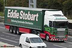 Scania R440 6x2 Tractor with 3 Axle Curtainside Trailer - PJ11 YBX - Collette Cheryl - Eddie Stobart - M1 J10 Luton - Steven Gray - IMG_4036