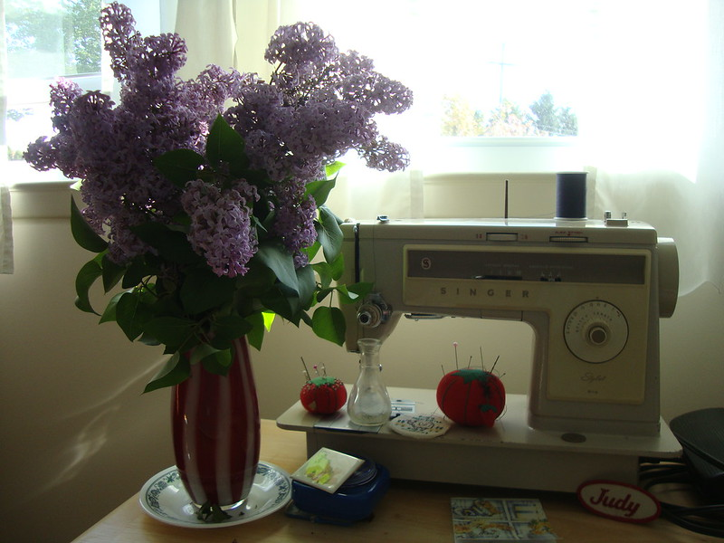 my mom's lilacs and her sewing machine