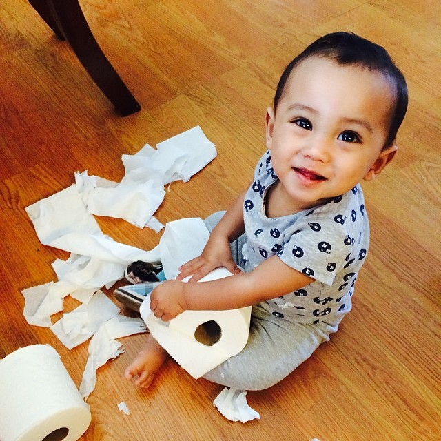 """My wife tells me. """"No wonder he was so quiet for awhile"""". I hope he's not like his me. Mama and I will be in a for an adventure with this naughty kid. @kmallorca103 #lovemyson #naughtbaby #cutelittlebaby #cutestbabyever #thatsmyboy."""