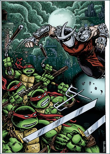 "SHELLBACK ARTWORKS :: ""TMNT v. SHREDDER""  exclusive print for Free Comic Book Day 2014 // .. color by Lavigne (( 20"