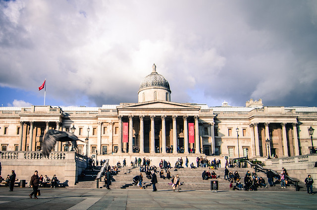 The grand, wide steps to London's famed National Gallery.