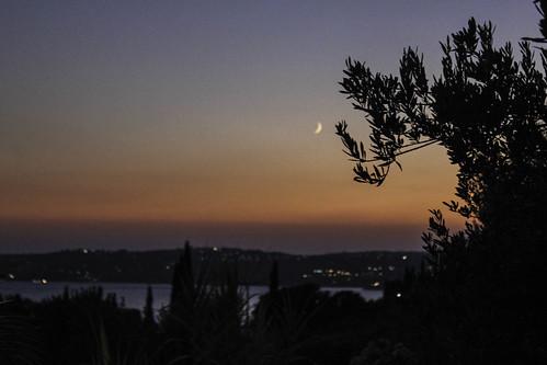 above morning moon tree sunrise island haze small greece zakynthos argostolí