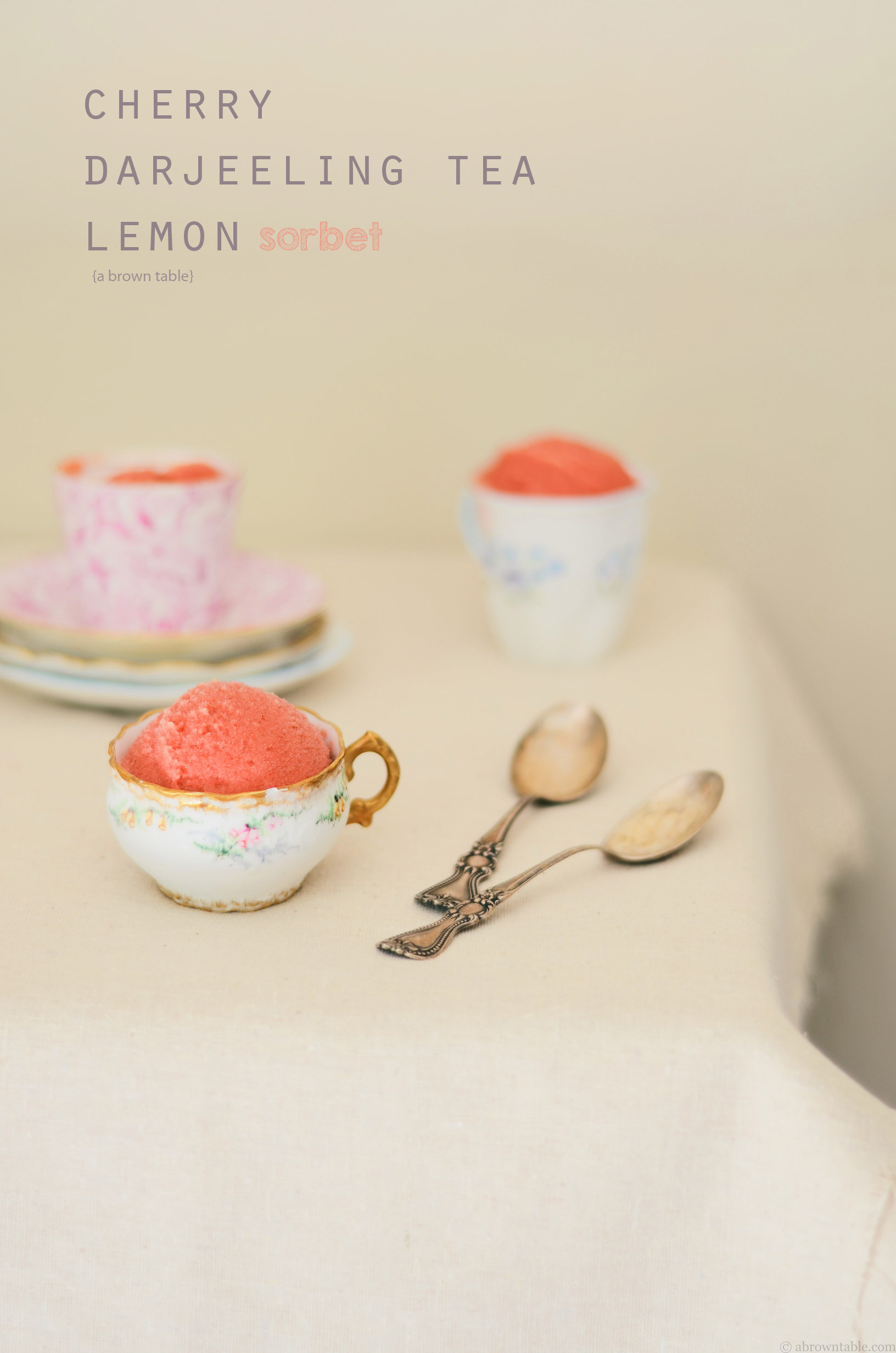 darjeeling tea cherry lemon sorbet