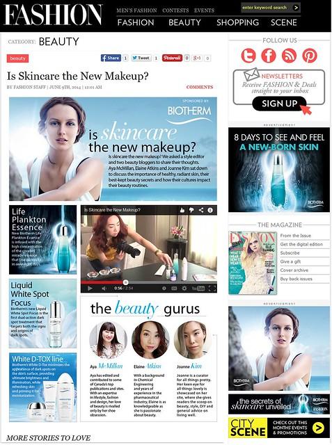 biotherm, fashion magazine, video shoot, feature, advertorial, beauty, skin care, liquid white spot, life plankton, essence