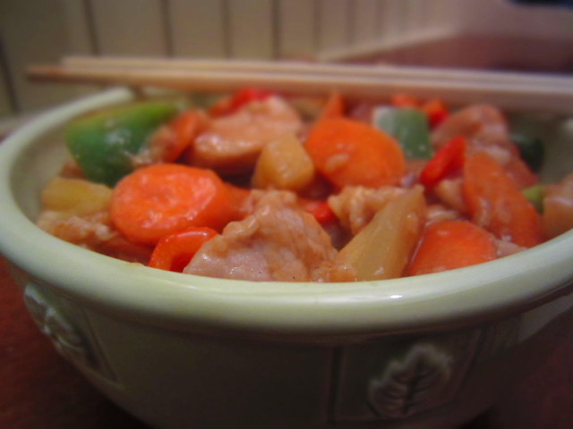 A Bowl of Homemade Sweet and Sour  Pork